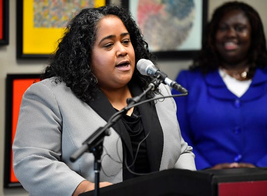 State Sen. Raumesh Akbari, D-Memphis, speaks at a press conference Monday, Jan. 7, 2019, in Nashville, Tenn., after Gov. Bill Haslam granted full clemency to Cyntoia Brown, and set an Aug. 7 release date for her from prison.