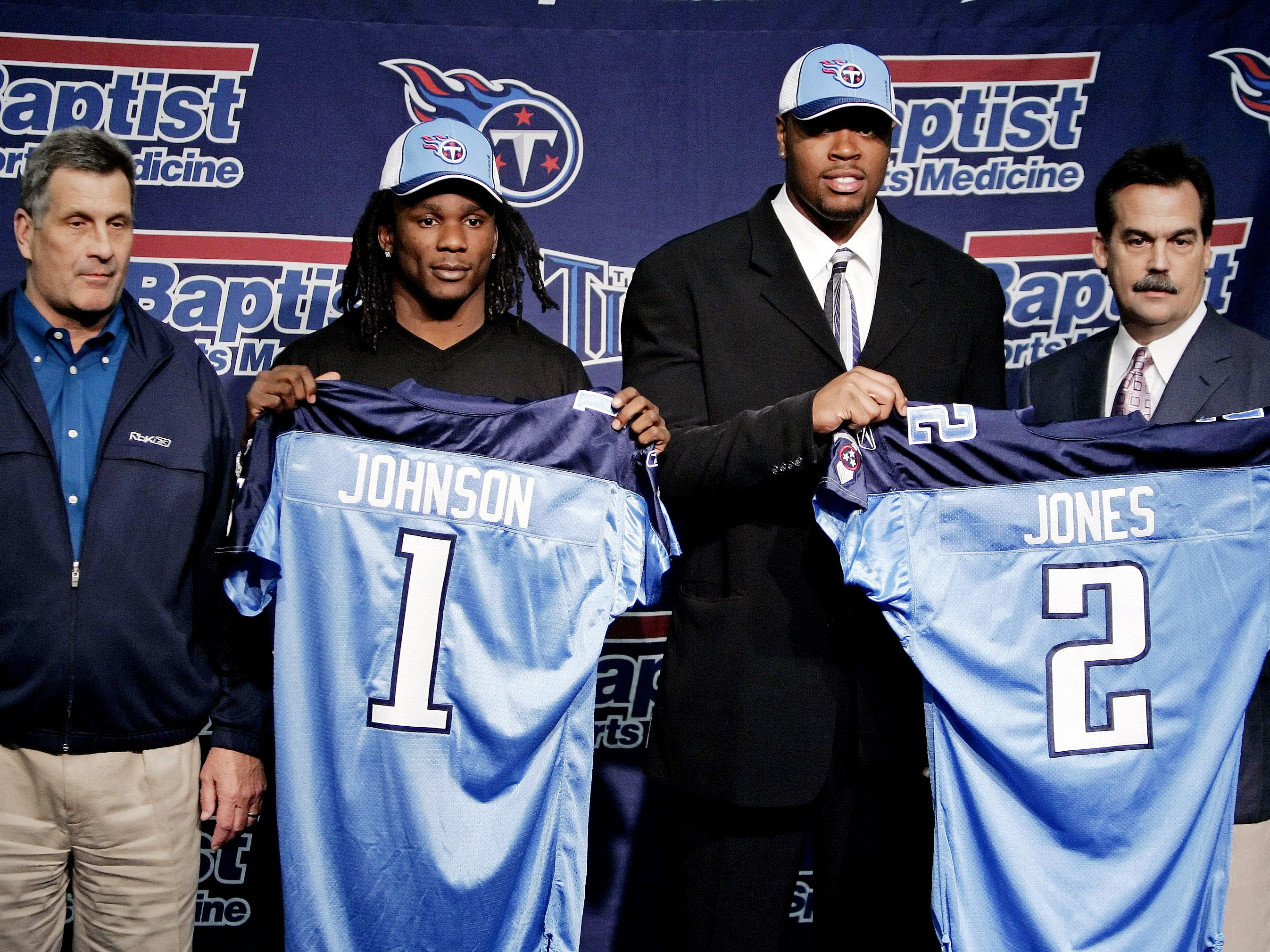 2008: Chris Johnson (No. 24 overall) Running Back, East Carolina  In six seasons with the Titans, Johnson ran for more than 1,000 yards in each.  Johnson has four 10+ TD seasons, a 2,000-yard season and a heavy workload. Is he the best Titans RB ever?