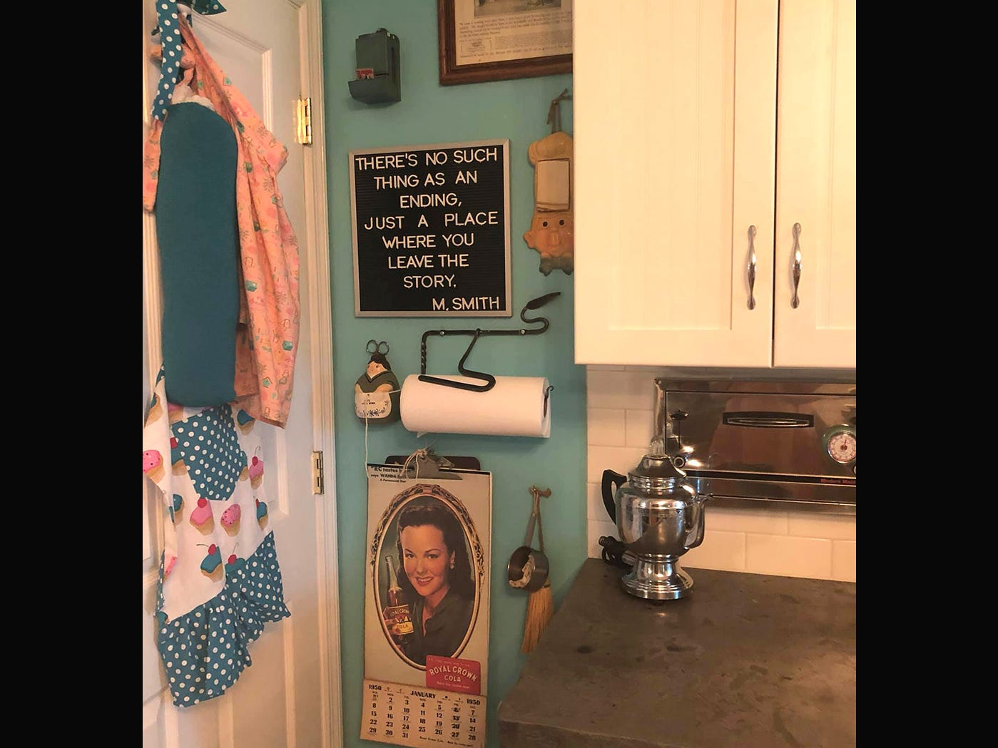 Vintage items decorate the walls in Kathleen Walter's new retro 1950s kitchen.