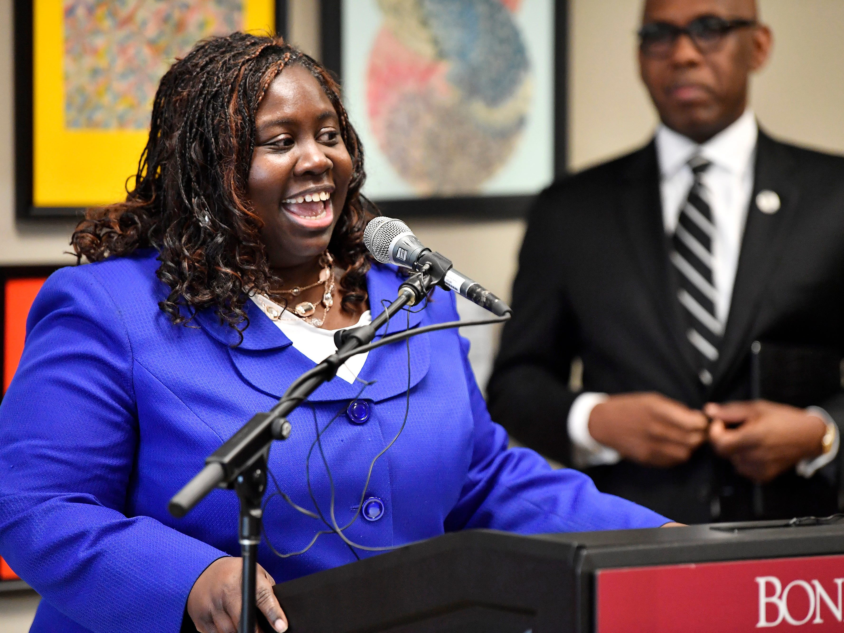 Juvenile Court Judge Sheila Calloway speaks at a press conference Monday, Jan. 7, 2019, in Nashville, Tenn., after Gov. Bill Haslam granted full clemency to Cyntoia Brown, and set an Aug. 7 release date for her from prison.