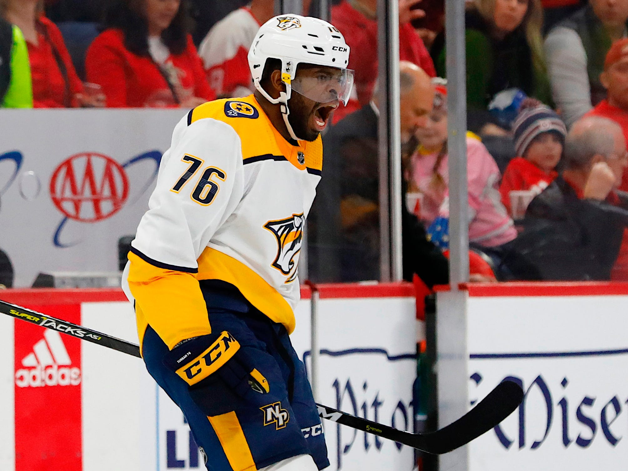 Jan 4, 2019: Wings 4, Preds 3, OT -- Nashville Predators defenseman P.K. Subban (76) celebrates after scoring in the first period against the Detroit Red Wings at Little Caesars Arena.