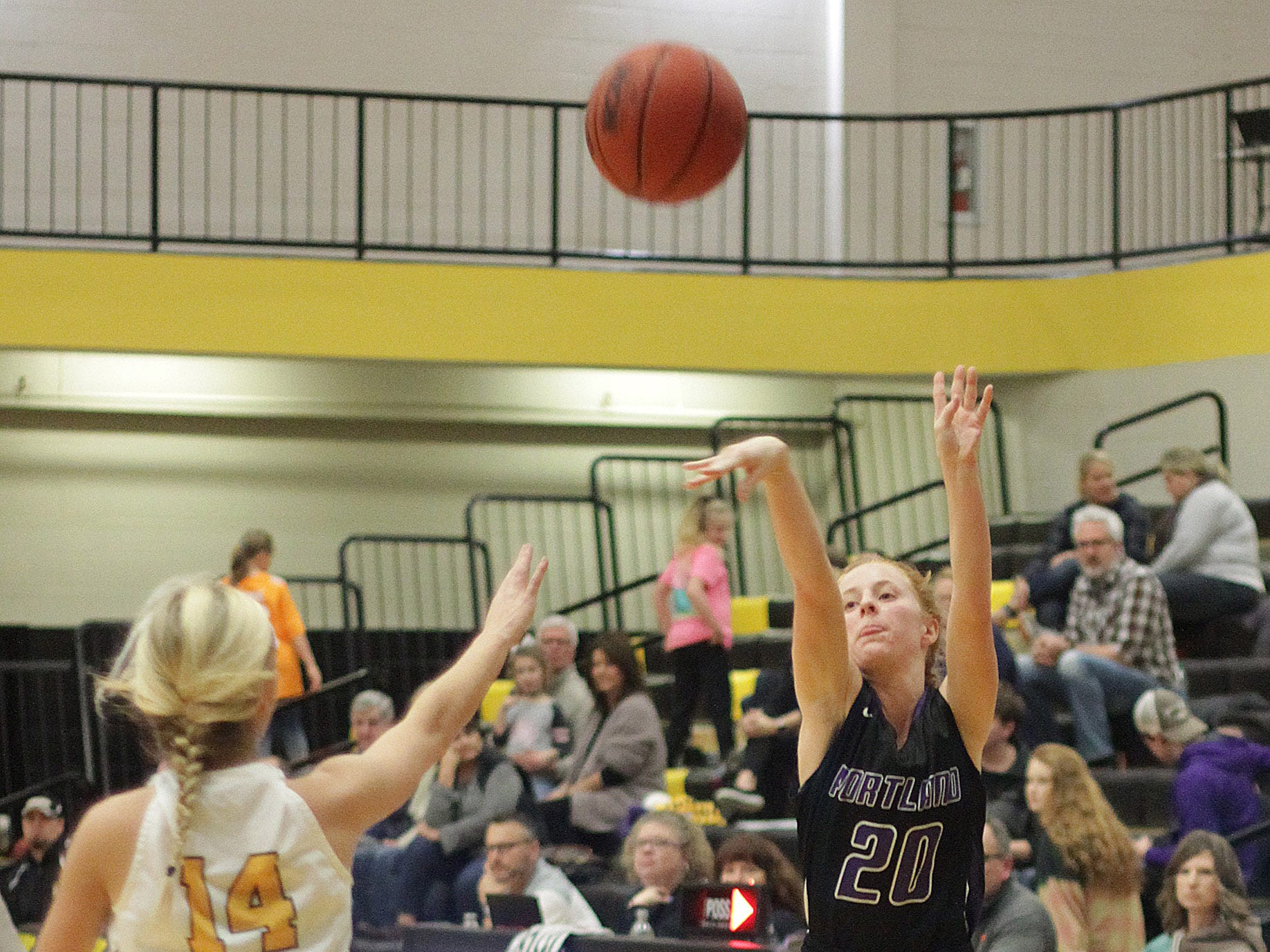 Portland's Mackenzie Hodges knocks down a three point to tie the game at 29 in the fourth quarter on Friday, January 4, 2019.