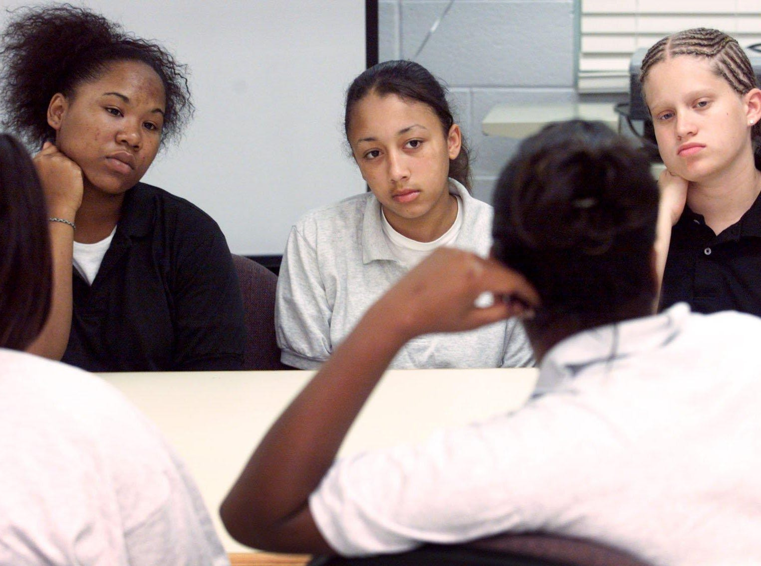 Vanessa Terry, 15, Cyntoia Brown, 14 and Jessica Kemp, 15, (L-R) who are enrolled at Woodland Hills Youth Development Center have been impacted by a program sponsored by Senator Thelma Harper.
