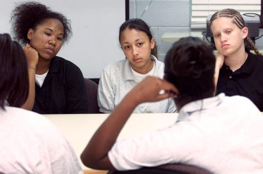 Cyntoia Brown, center, at age 14 in the Woodland Hills Youth Development Center.
