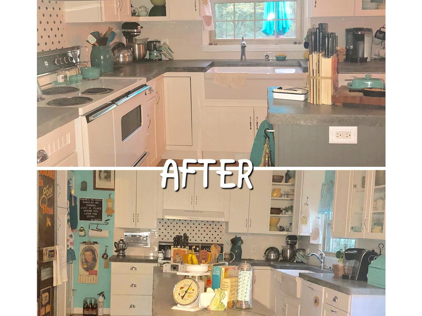 The 'after' view of Kathleen Walter's retro kitchen remodel.