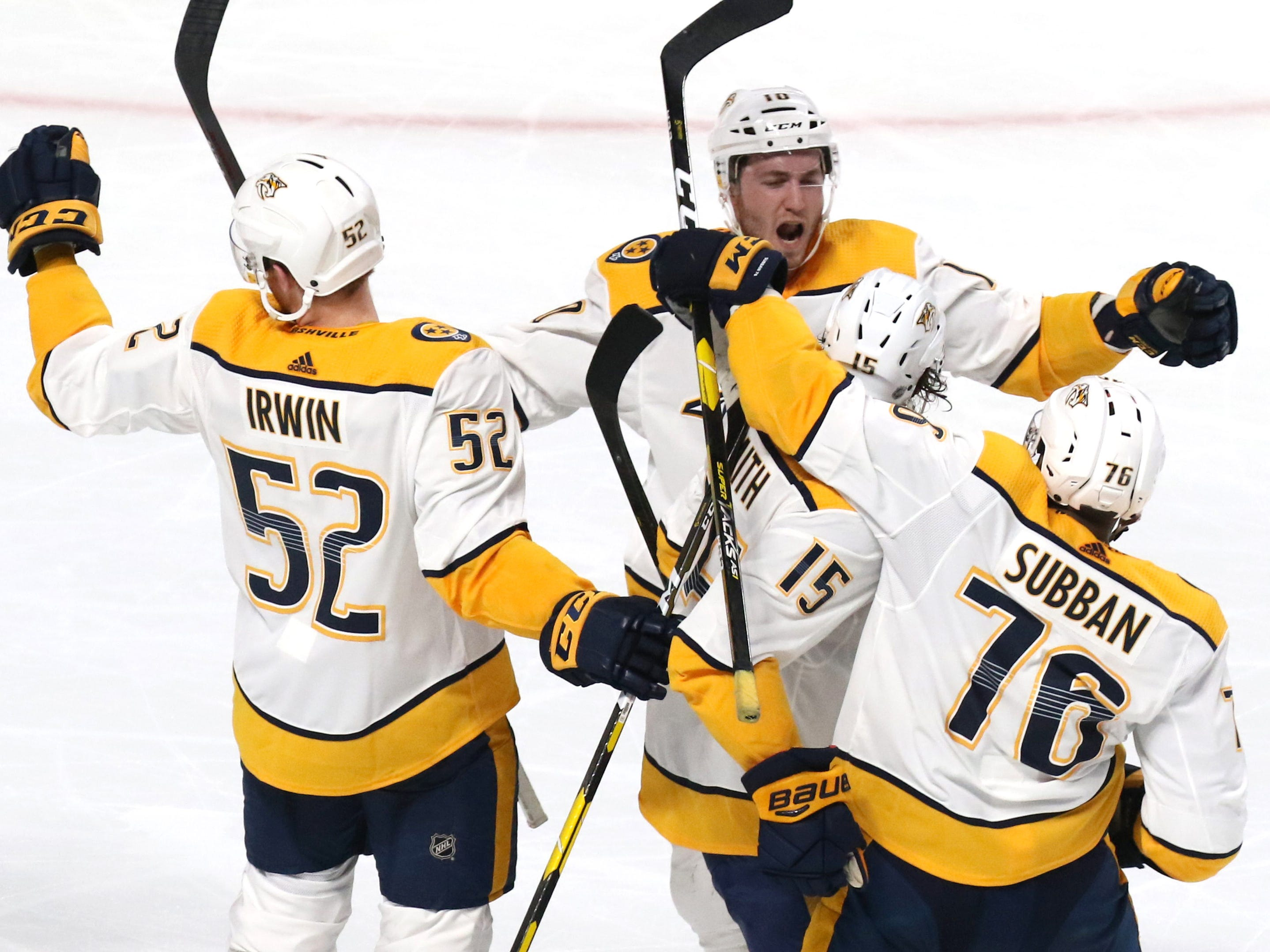 Jan. 5, 2019: Preds 4, Canadiens 1-- Nashville Predators right wing Craig Smith (15) celebrates with teammates after scoring a goal against the Montreal Canadiens during the second period at Bell Centre.