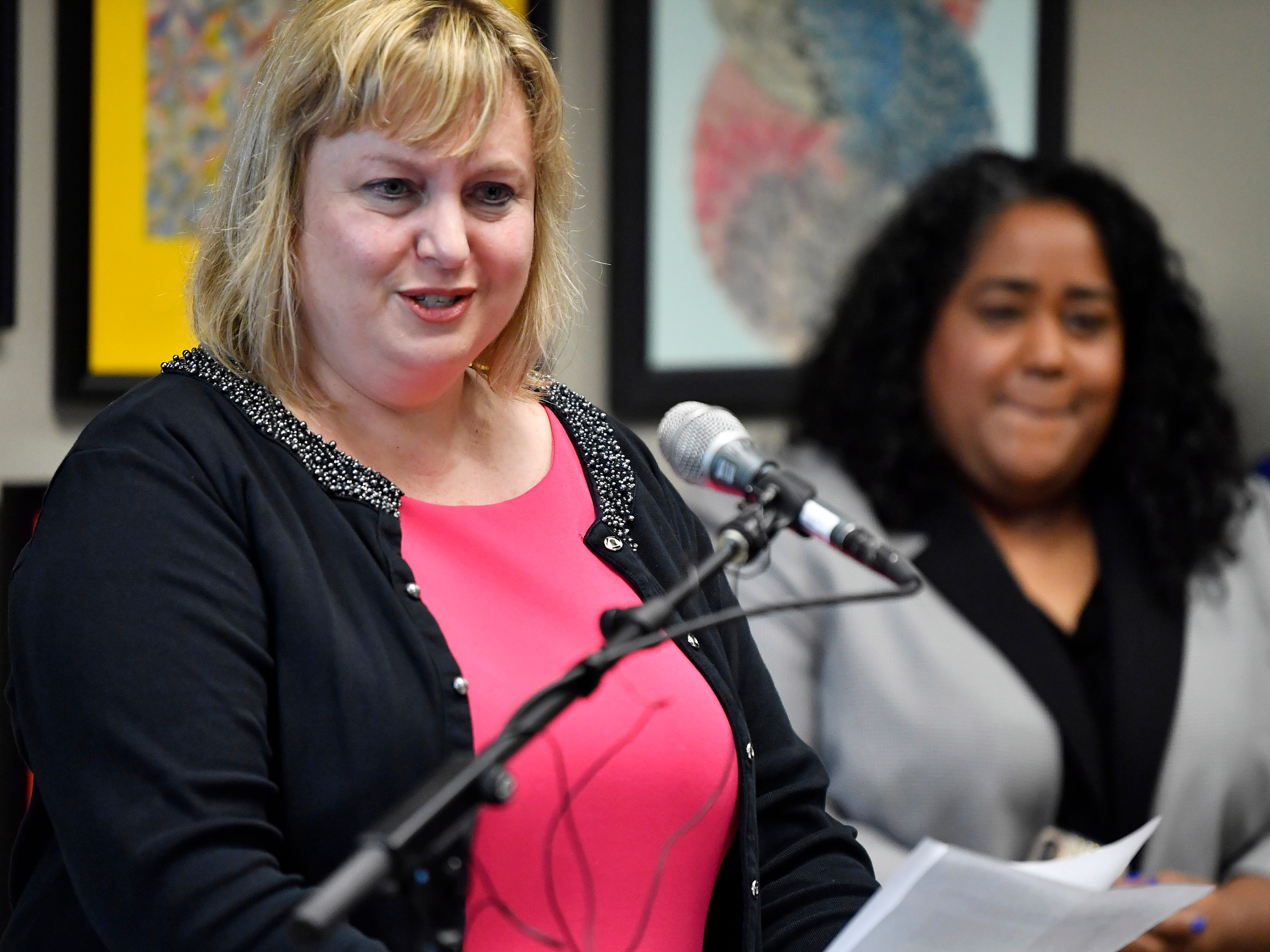 Davidson County Juvenile Court Administrator Kathy Sinback reads a statement from Cyntoia Brown at a news conference Jan. 7, 2019, in Nashville after Gov. Bill Haslam granted full clemency to Brown. Sinback was Brown's first public defender and became her friend.