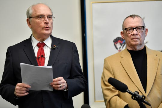 Defense attorneys David Raybin, left, and John M.L. Brown hold a press conference Monday, Jan. 7, 2019, in Nashville, Tenn., after the ruling by Judge Melissa Blackburn that the criminal homicide charge against Nashville police officer Andrew Delke will go to the grand jury for further consideration. Delke is charged with criminal homicide in the on-duty shooting of Daniel Hambrick.