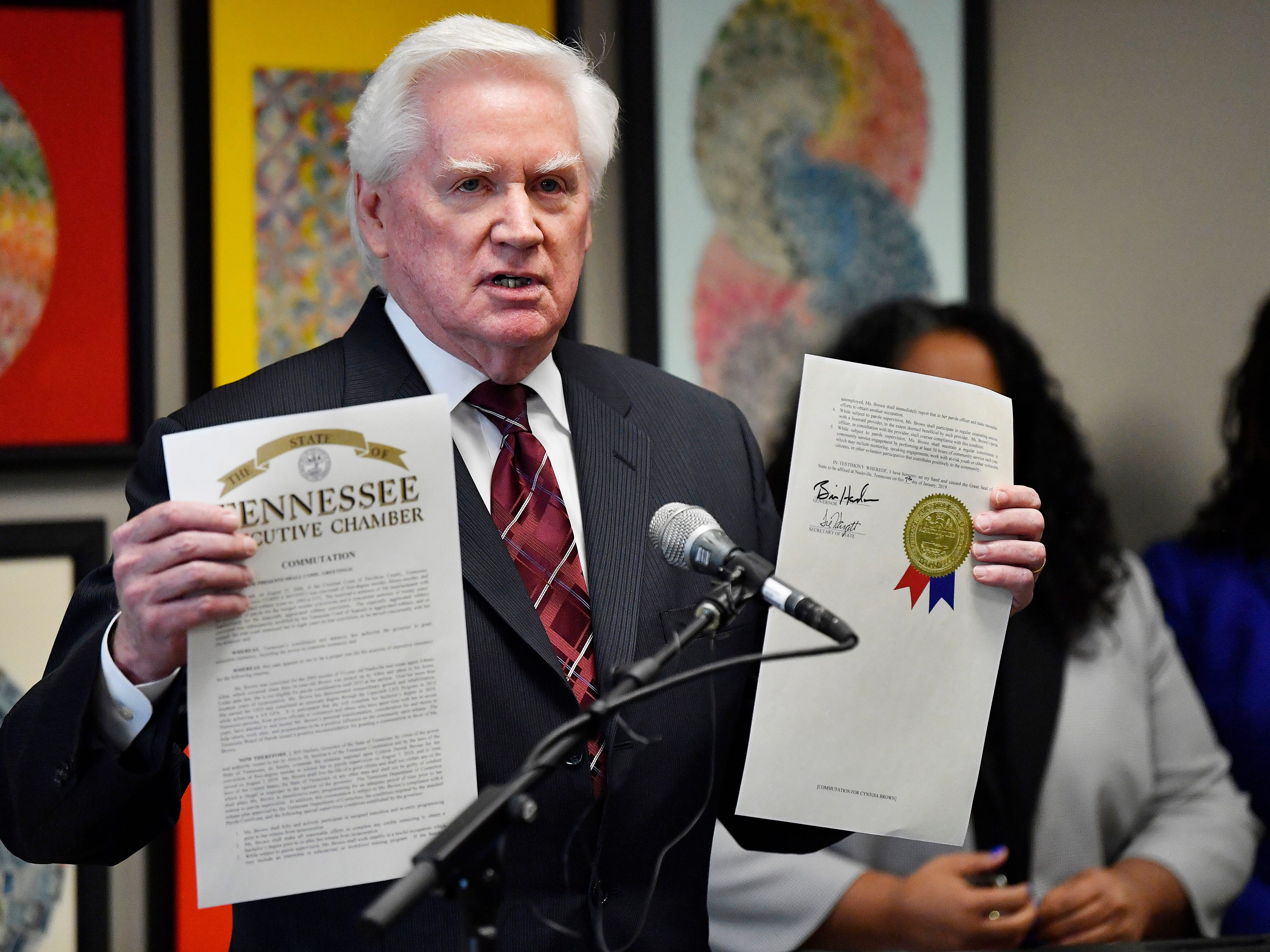 Ed Yarbrough holds the executive clemency order from Gov. Bill Haslam at a press conference Monday, Jan. 7, 2019, in Nashville, Tenn., after the governor granted full clemency to Cyntoia Brown, and set an Aug. 7 release from prison.