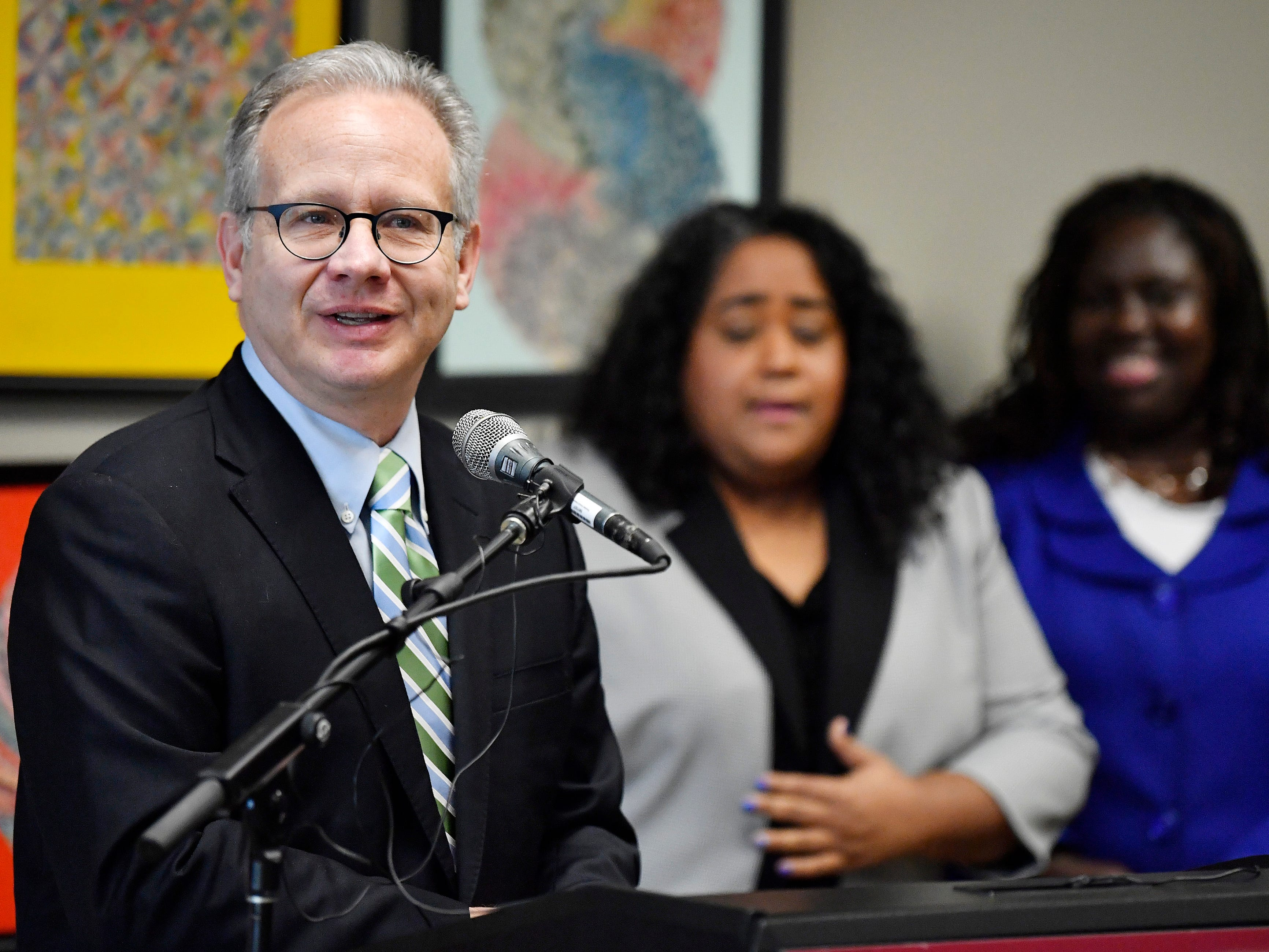 Nashville Mayor David Briley speaks at a press conference Monday, Jan. 7, 2019, in Nashville, Tenn., after Gov. Bill Haslam granted full clemency to Cyntoia Brown, and set an Aug. 7 release date for her from prison.