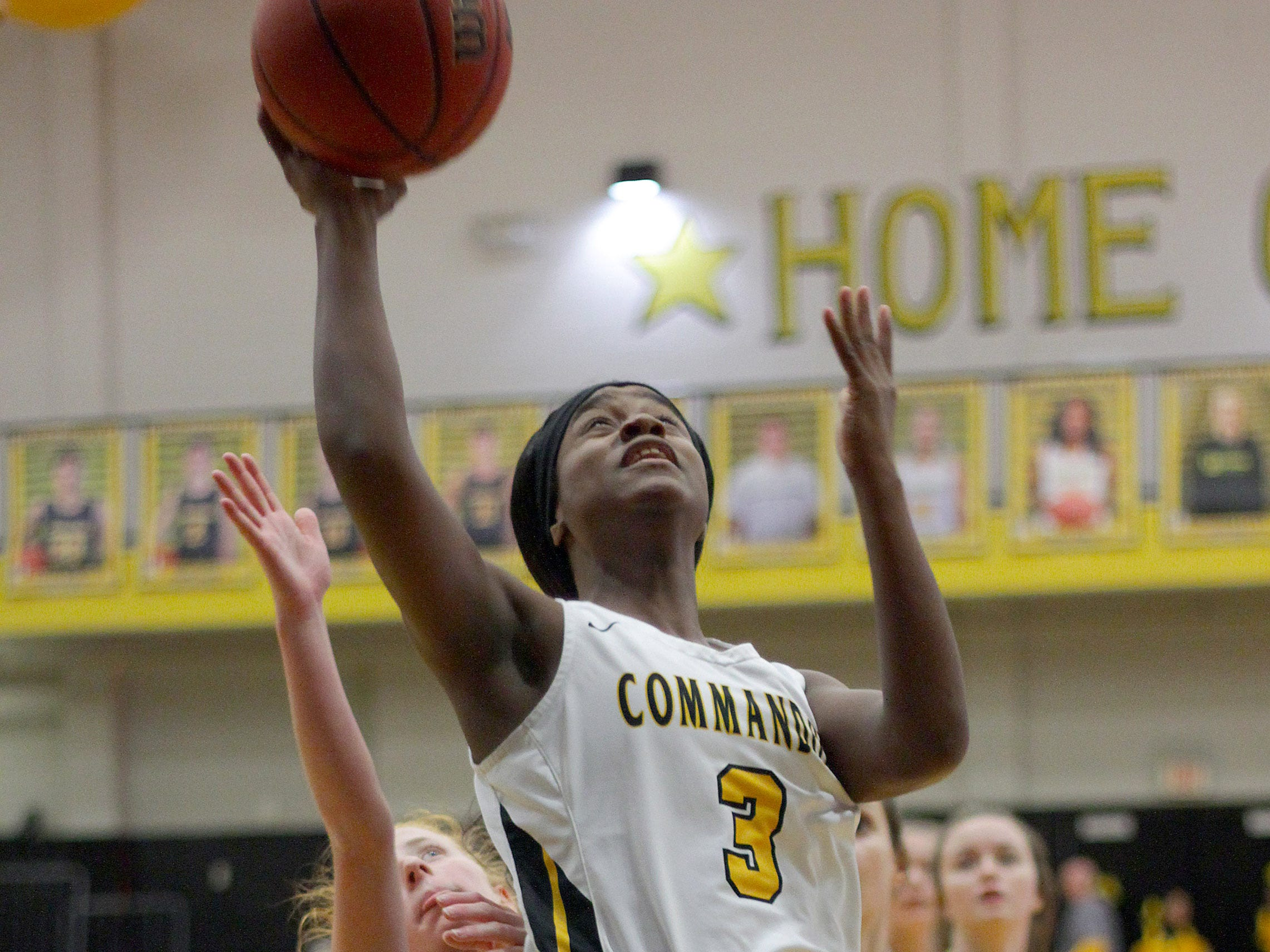 Hendersonville's Janaeya Mays drives to the hoop against Portland on Friday, January 4, 2019.