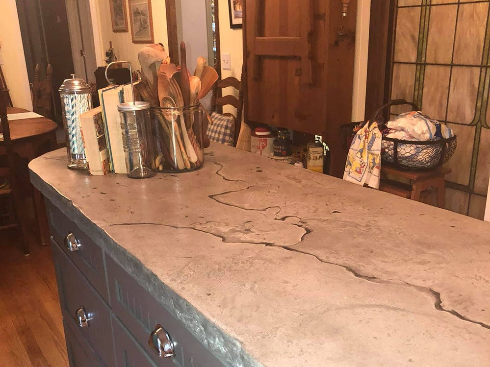 New concrete countertops were among the newer design elements used for the retro kitchen design.