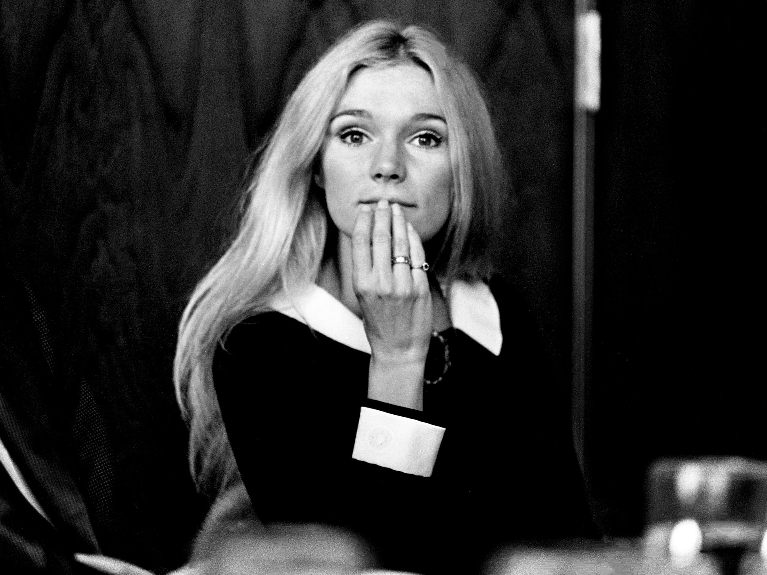 "Actress Yvette Mimieux answers questions during the Nashville City Club press luncheon Jan. 30, 1969. She is in town to promote her new movie, ""Three in the Attic,"" and to talk with Mary Reeves, president of Jim Reeves Enterprises, about making her singing debut on a country-rock record."