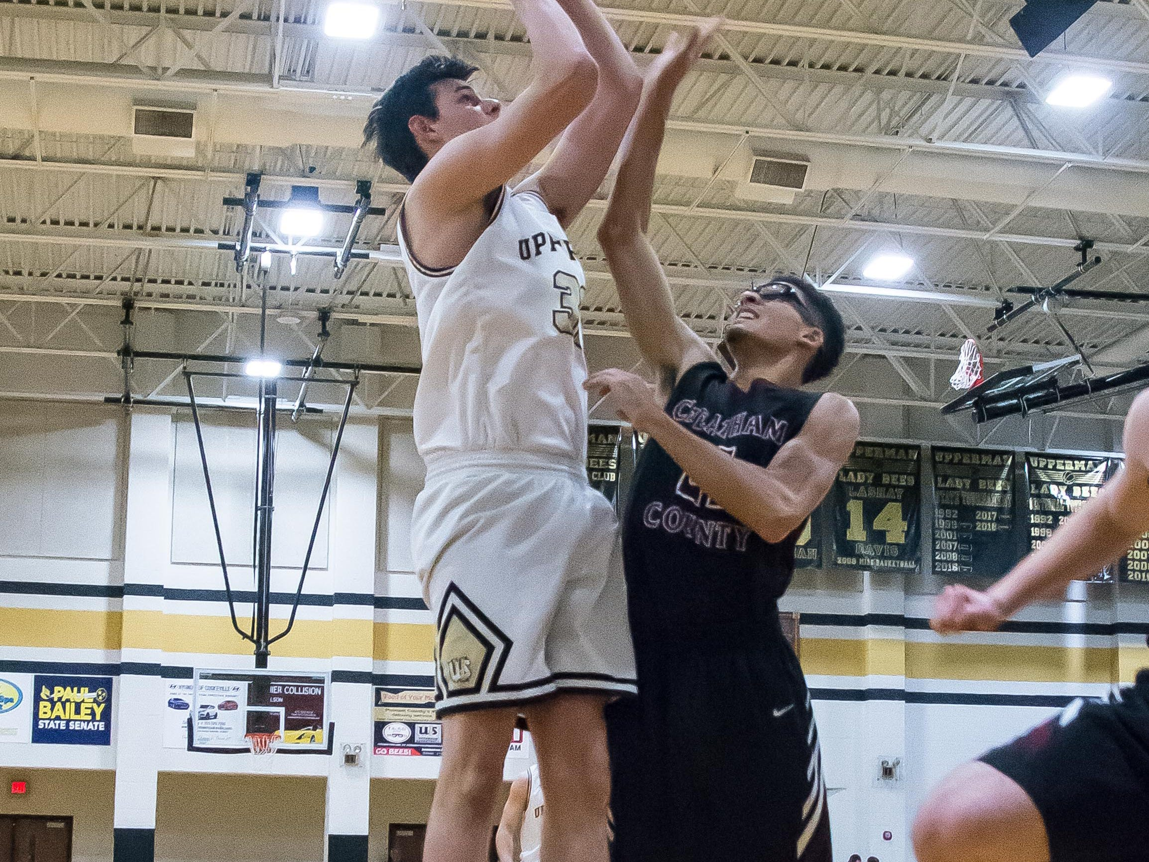 Upperman's Alex Rush goes up for a shot early in game.