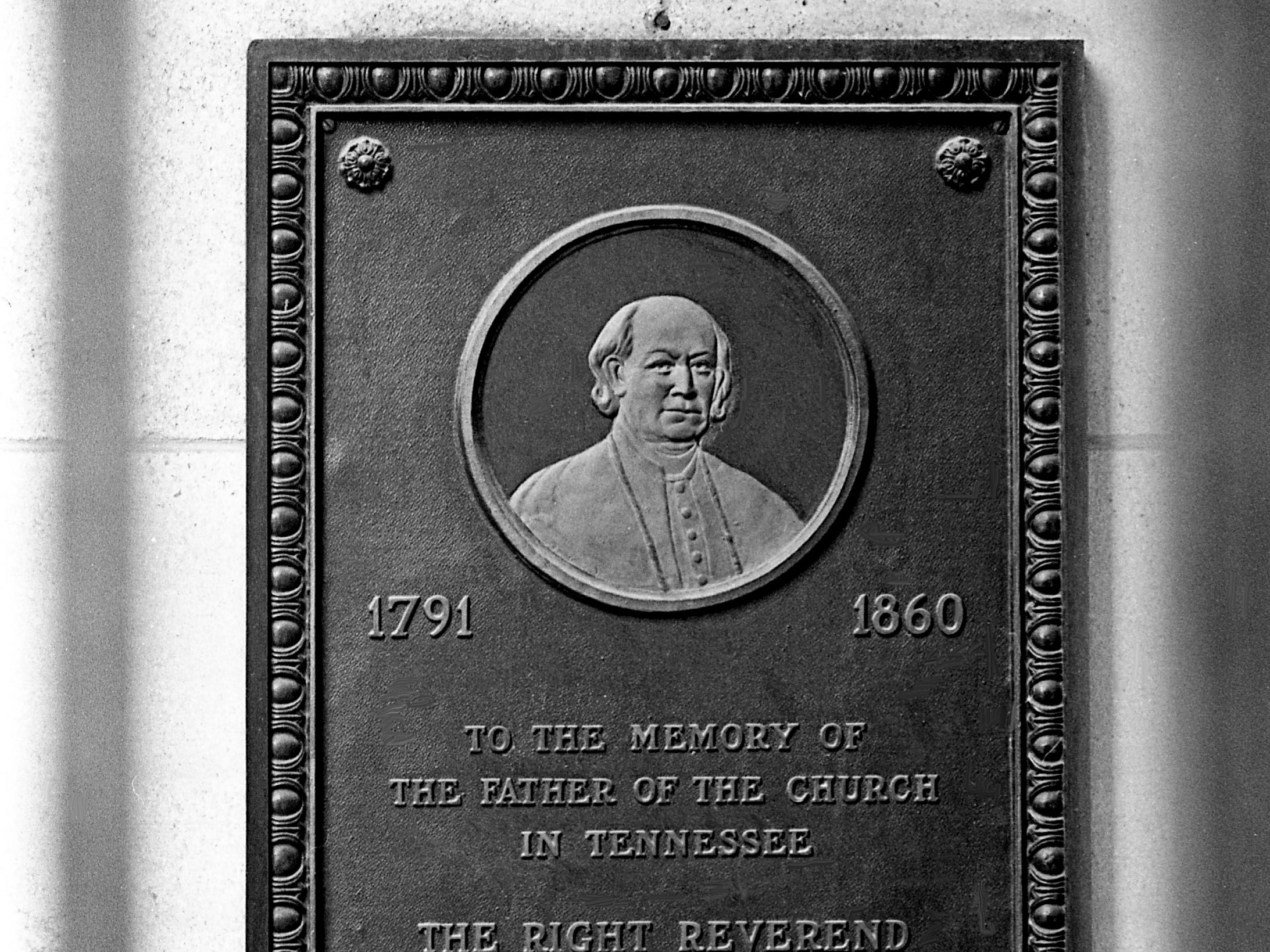 "A plaque honoring Bishop Richard Pius Miles, the first bishop of the Nashville diocese, hangs in St. Mary's Catholic Church at the corner of Fifth and Charlotte in downtown Nashville on Jan. 23, 1969. A legend that grew up about St. Mary's ""ghost"" was that it was actually the spirit of Miles, whose remains are supposedly interred in the basement of the church."