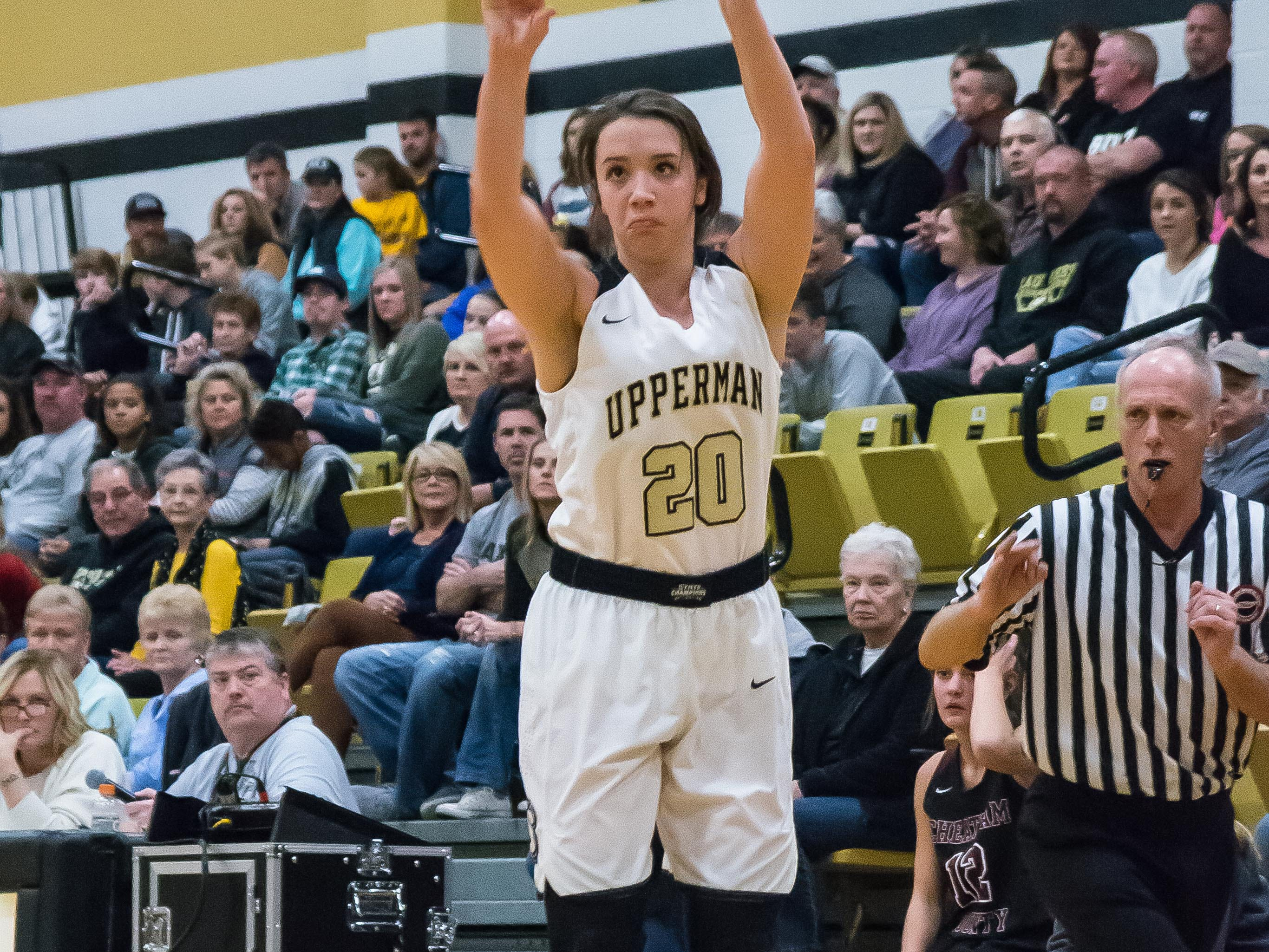 Upperman's Torri Brooks putting up a three.