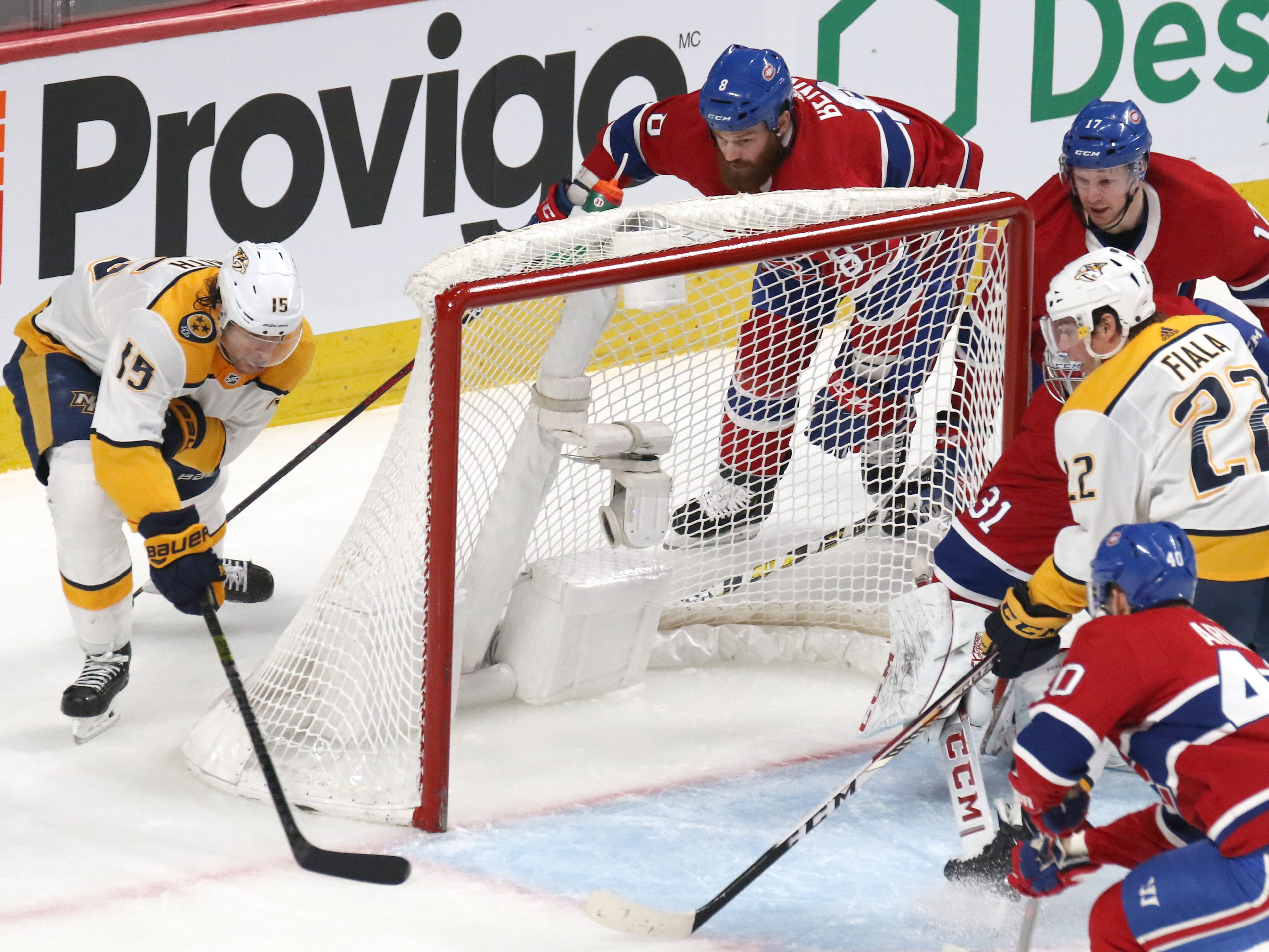 Nashville Predators right wing Craig Smith (15) scores a goal against Montreal Canadiens goaltender Carey Price (31) during the second period at Bell Centre.