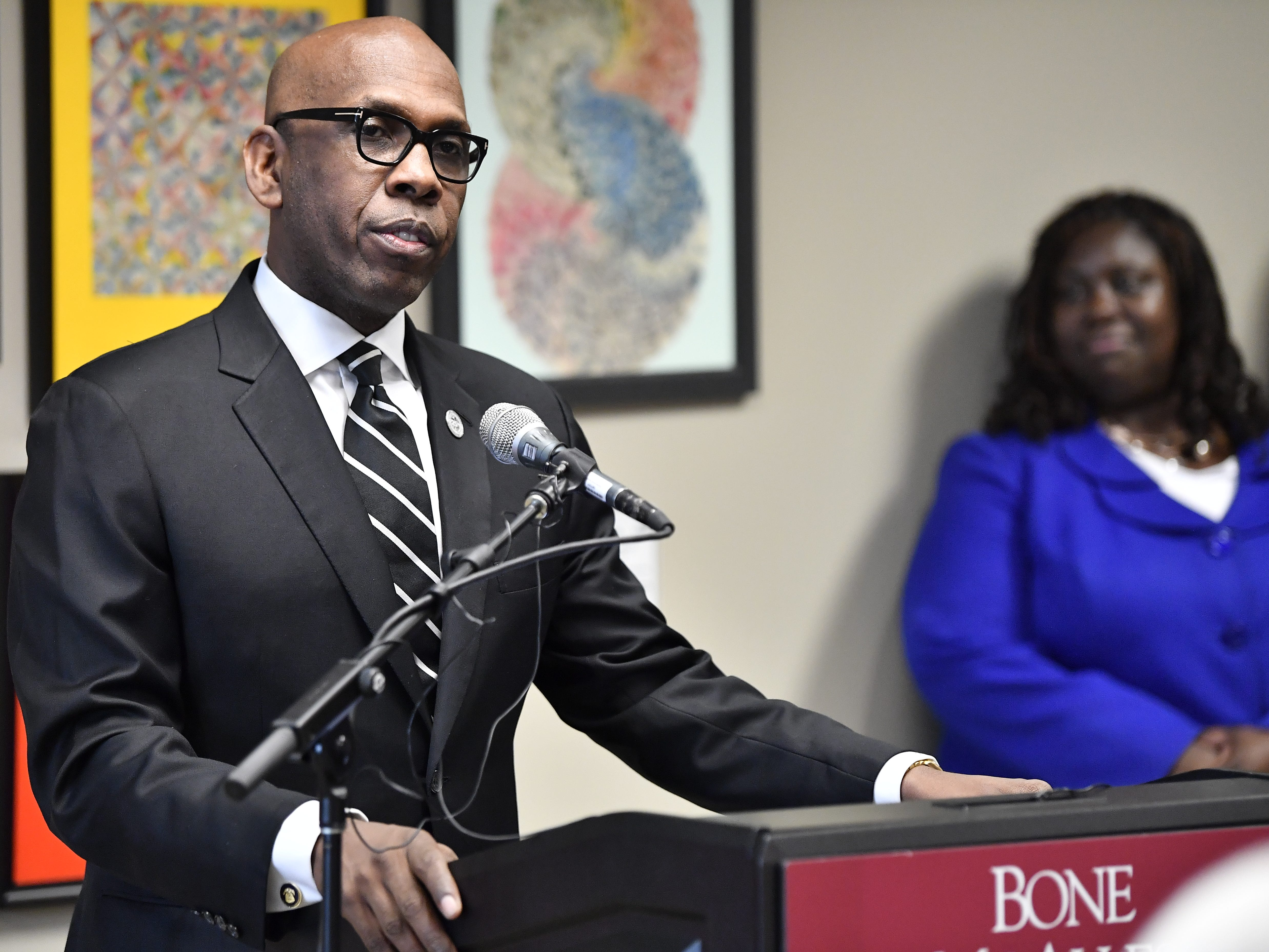 Bishop Joseph Walker speaks at a press conference Monday, Jan. 7, 2019, in Nashville, Tenn., after Gov. Bill Haslam granted full clemency to Cyntoia Brown, and set an Aug. 7 release date for her from prison.