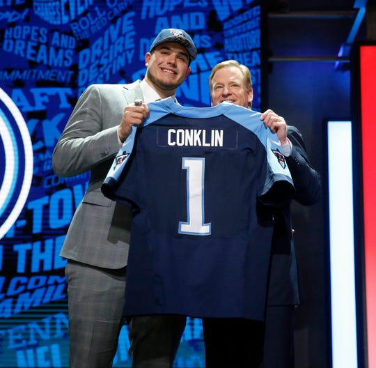 2016 Jack Conklin (No. 8 picked) Offensive Lineman-Michigan State: Jack Conklin, left, poses for the media with NFL commissioner Roger Goodell after being selected by Tennessee Titans in the first round of the draft April 28, 2016 in Chicago.
