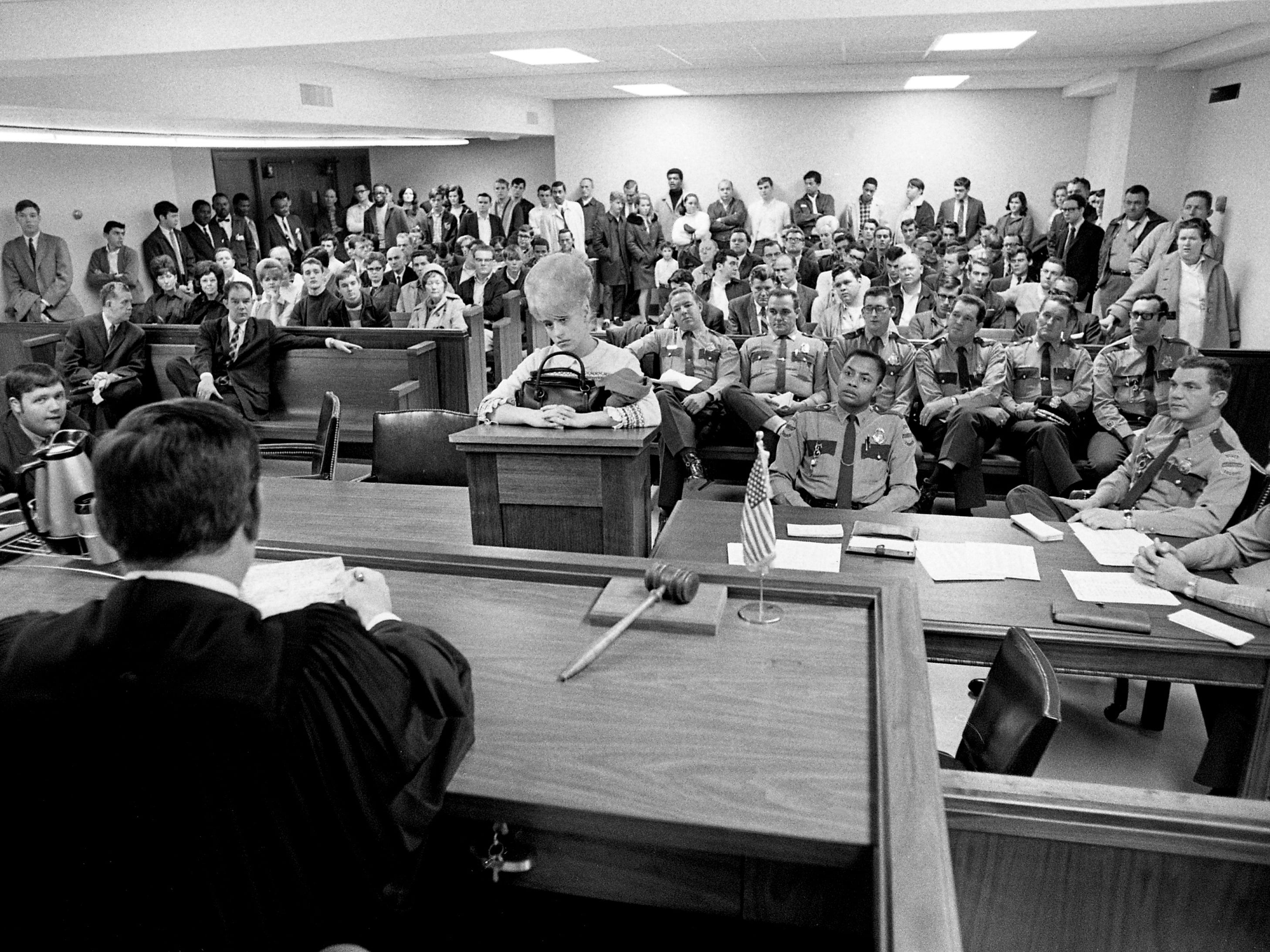 Dozens of people waiting for their traffic cases to be heard stand in the rear of the Metro General Sessions courtroom of the Davidson County Courthouse on Jan. 22, 1969. All available seats were taken up by officers, attorneys and defendants. The crowded courtroom is a daily occurrence, and General Sessions Judge Joe Loser says the facility should be expanded to provide additional space.