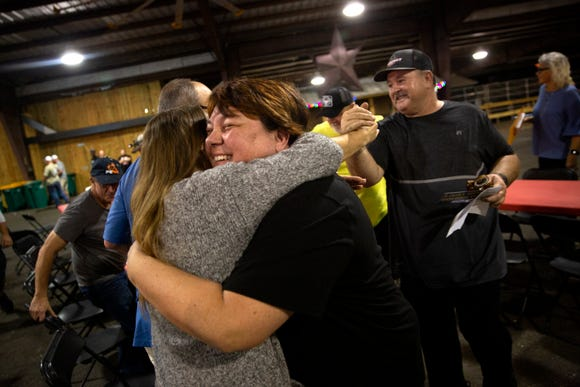 Tonya Pendray, and her husband John Pendray, right, of Pendray BBQ from Williston, Florida, celebrate after winning the steak competition during the seventh annual Big Swamp Smoke-Off Bar-B-Que Friday, Jan. 4, 2019 at the Collier County Fairgrounds.