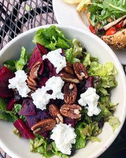 A beet and goat cheese salad with pecans and currents at Food and Thought in Naples is simply healthful.