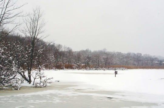 """136815  Allendale  1/24/2015  """"Snow blankets the frozen Lake Appert in the Celery Farm in Allendale.""""  PHOTO JOHN F. PASTORE  Town Journal"""