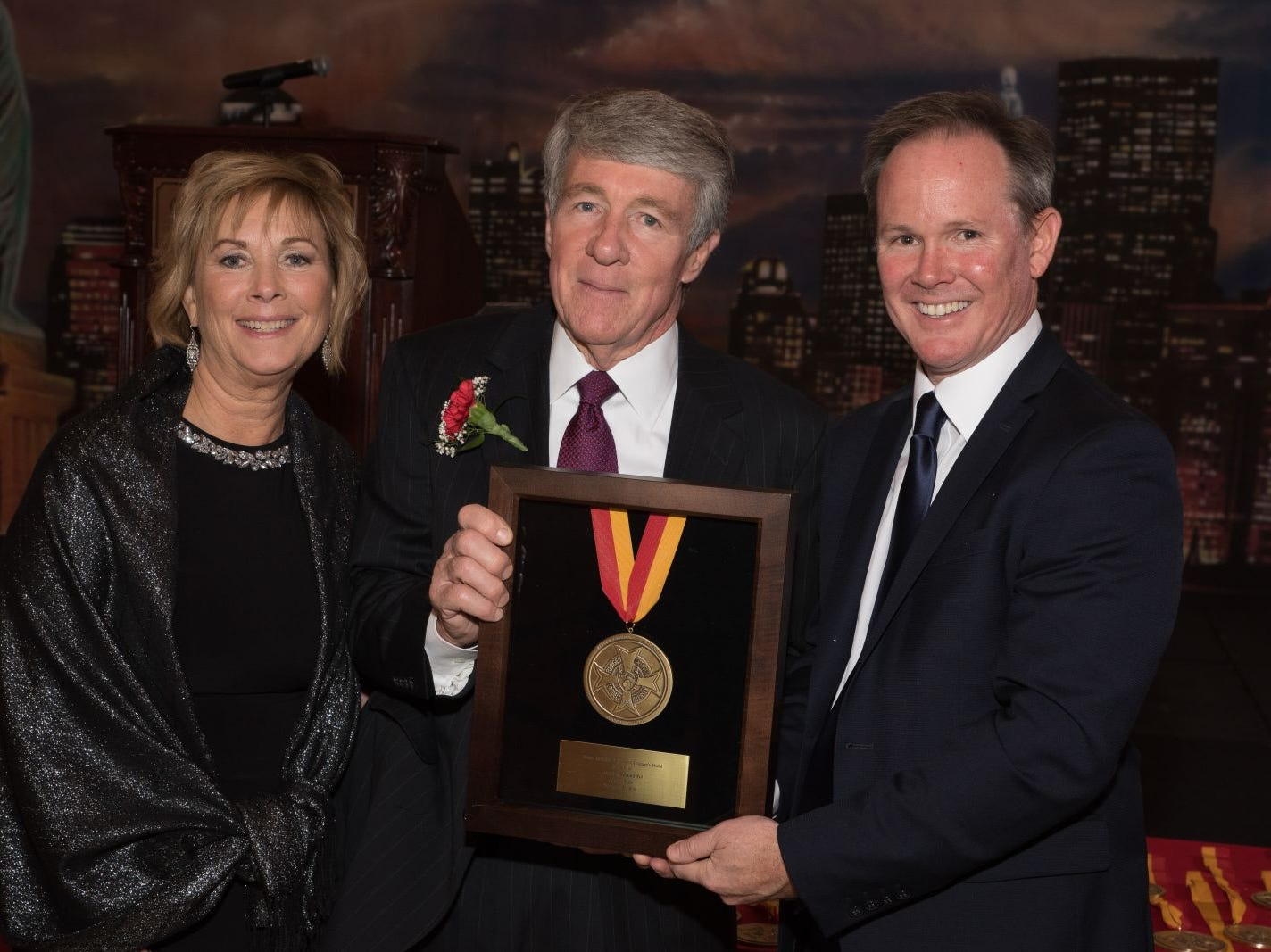 Marge Quinn, Joseph P. Donlan (honoree) and Dr. Brian Mahoney (President of Bergen Catholic High School).Bergen Catholic High School celebrates their 2018 Crusader Gala at The Venetian in Garfield. 11/16/2018