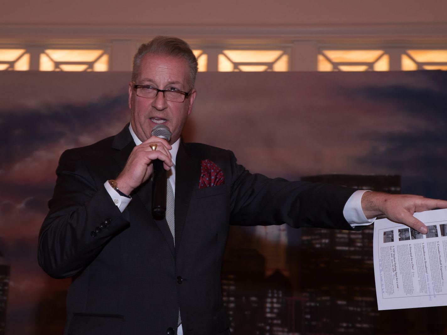 Sandy Cerami (Emcee) conducts live auction. Bergen Catholic High School celebrates their 2018 Crusader Gala at The Venetian in Garfield. 11/16/2018