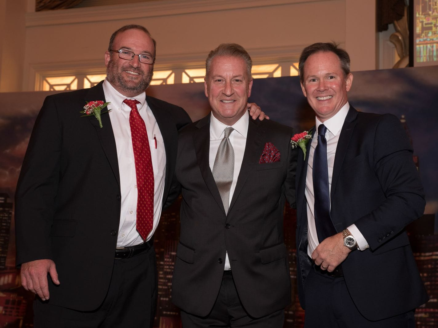 Timothy McElhinney, Principal with Sandy Cerami, Emcee and Dr. Brian Mahoney, President. Bergen Catholic High School celebrates their 2018 Crusader Gala at The Venetian in Garfield. 11/16/2018