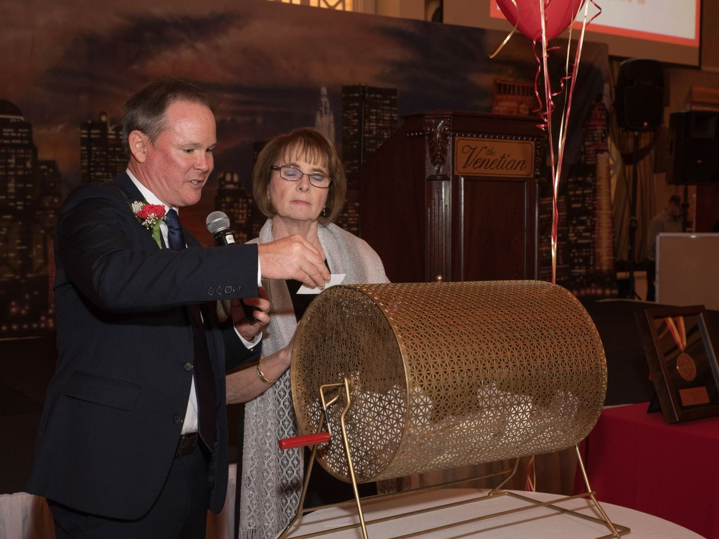 Dr. Brian Murphy and Regina Radoslovich announce winners. Bergen Catholic High School celebrates their 2018 Crusader Gala at The Venetian in Garfield. 11/16/2018