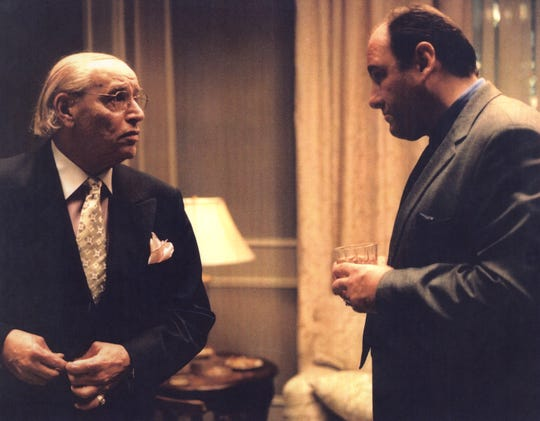 "Actor Frank Vallelonga of Paramus (left), also known as Tony Lip, portrayed crime boss Carmine Lupertazzi in the HBO series ""The Sopranos,"" alongside Park Ridge native James Gandolfini (right)."