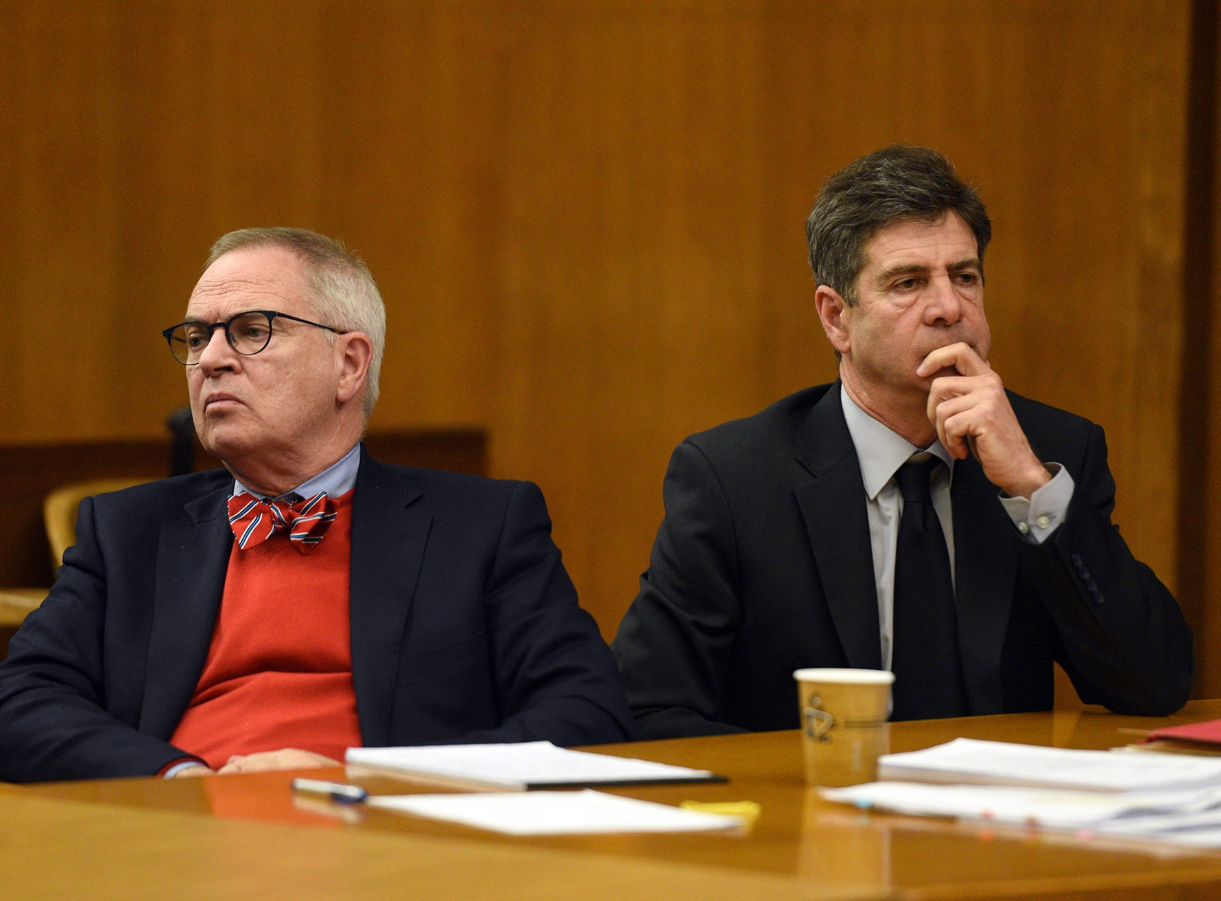 Jared Clackner, on right, with his attorney Brian Neary, was sentenced to 364 days in the Bergen County Jail and five years probation, to be served reversed, for his conviction on assault charges. Clackner, of Denville, stood trial in October for killing his friend Bill Henning on the side of Route 80 in March 2015. A jury found Clackner not guilty of manslaughter, but convicted him on assault charges. Clackner was sentenced before Judge Susan Steele in Bergen County Superior Court on Monday, January 7, 2019.