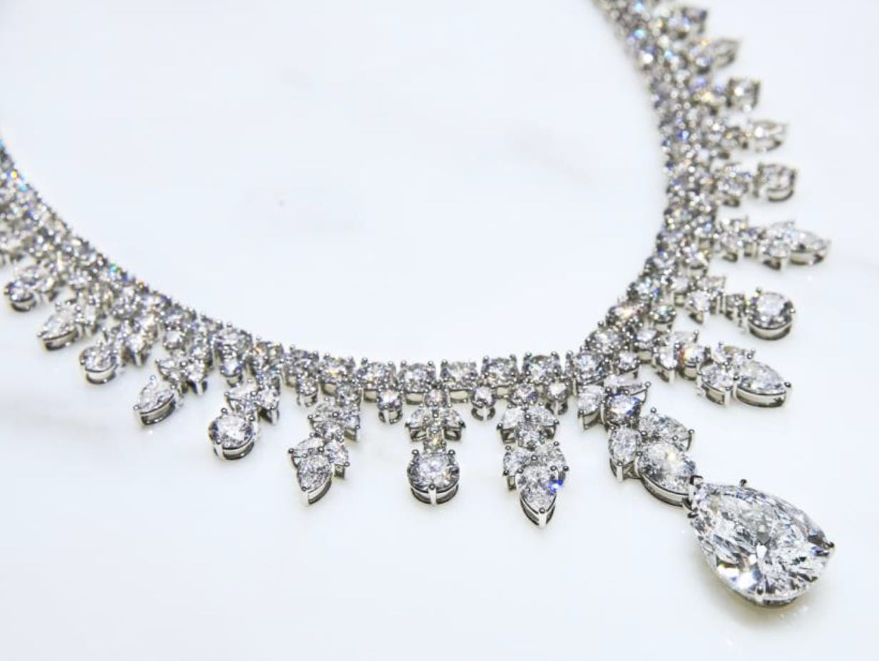 Tiffany Auora necklace in platinum with diamonds (price upon request) — Tiffany & Co. provided Lady Gaga with over 100 carats of diamonds for the 76th annual Golden Globe Awards