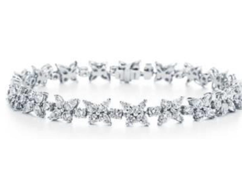 Tiffany Victoria mixed cluster bracelet in platinum with diamonds ($45,000) — Tiffany & Co. provided Lady Gaga with over 100 carats of diamonds for the 76th annual Golden Globe Awards