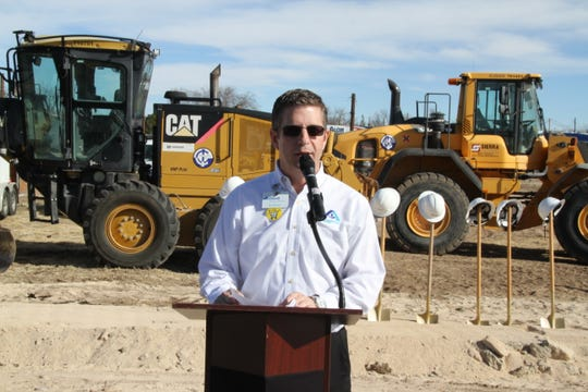 David Beaty, store director of Albertsons Market in Carlsbad speaks during a groundbreaking Monday for a new market in Carlsbad.