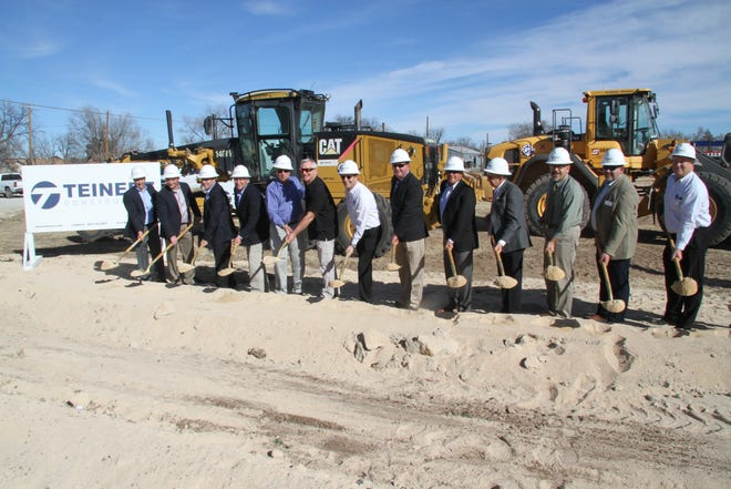 Business, government and civic leaders get ready to shovel dirt during a groundbreaking ceremony at the new Albertsons Market at 808 N. Canal in Carlsbad.