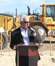 Robert Taylor, president of the United Family division of Albertsons Companies, speaks to people gathered Monday for the groundbreaking of a new Albertsons Market in Carlsbad.