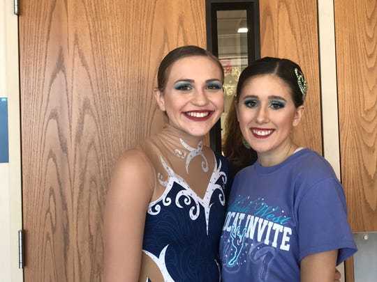 Zoe Slife (left) and Grace VandenHeuvel (right) are two members of the Oshkosh West varsity dance team, which competed in the fifth annual Oshkosh West Wildcat Invite.
