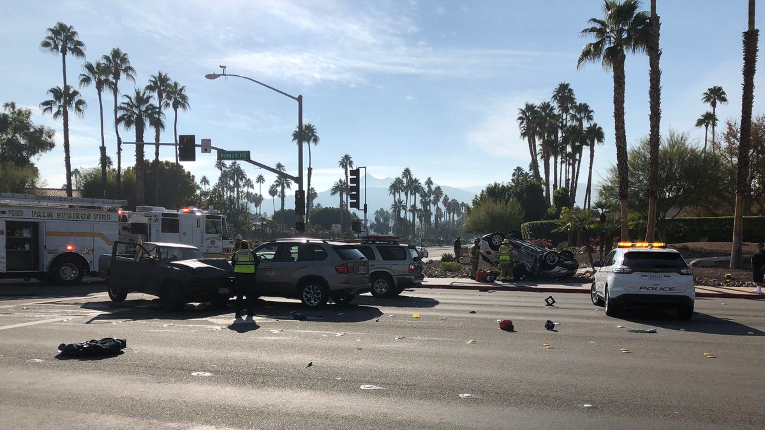 Rollover closes portion of Ramon Road in Palm Springs