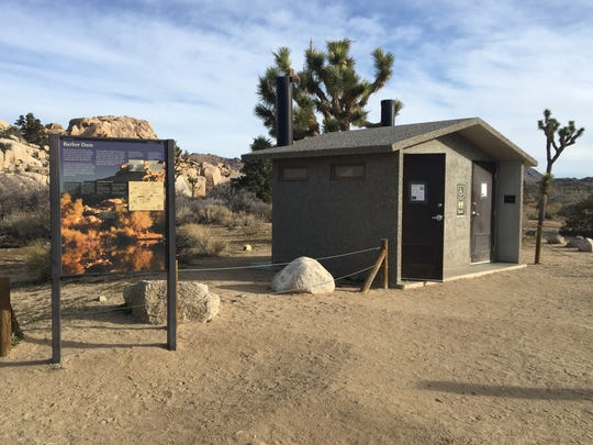 This photo shows a restroom near Barker Dam in Joshua Tree National Park. Toilets have remained clean during the government shutdown because of donations that have allowed them to be cleaned, staff says.