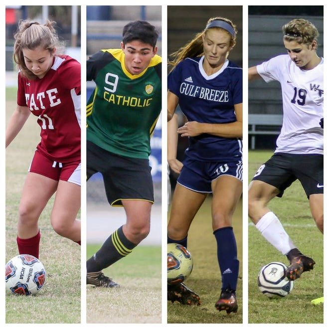 PNJ Soccer Player of the Week candidates: Tate's Camille Macks, Pensacola Catholic's Nelson LIbbert, Gulf Breeze's Kristen Goodroe and West Florida's Noah Trahan.