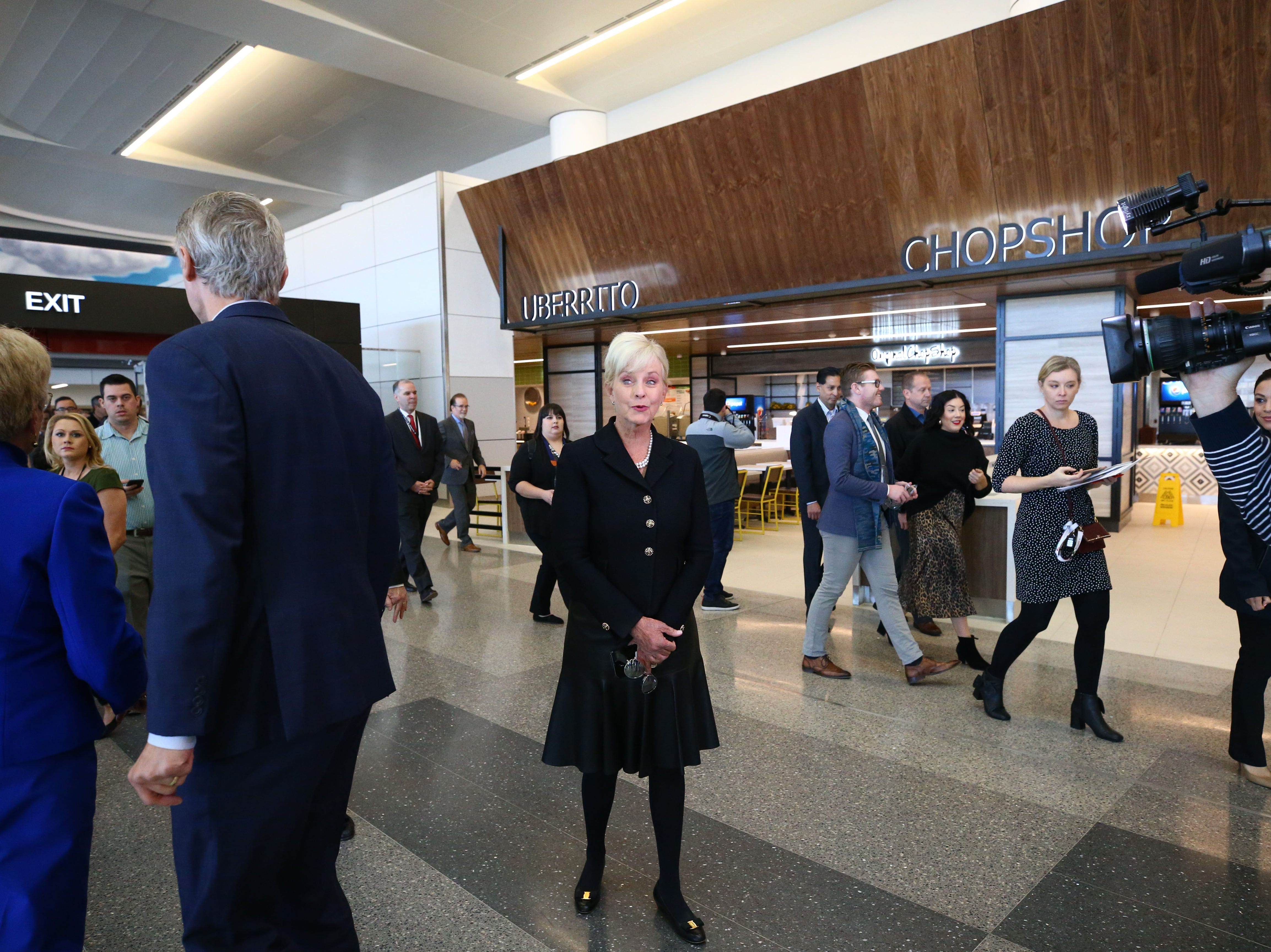 Cindy McCain gets her first look at the John S. McCain III Terminal 3, South Concourse during ceremonies on Monday, Jan. 7, 2019 at Phoenix Sky Harbor International Airport.