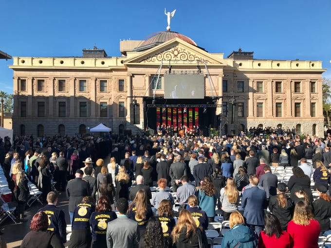 Spectators gather at the Arizona Capitol for the inauguration of state officials, Jan. 7, 2019.