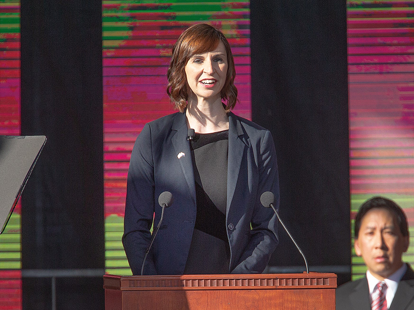 Kathy Hoffman speaks after being sworn in as Arizona Superintendent of Public Instruction by Arizona Supreme Court Chief Justice Scott Bales at the Arizona Capitol in Phoenix at the 2019 State of Arizona Inauguration ceremony on Jan. 7, 2019. Gov. Doug Ducey , Secretary of State Katie Hobbs, Attorney General Mark Brnovich, State Treasurer Kimberly Yee, Hoffman and State Mine Inspector Joe Hart were all sworn into office during the ceremony.