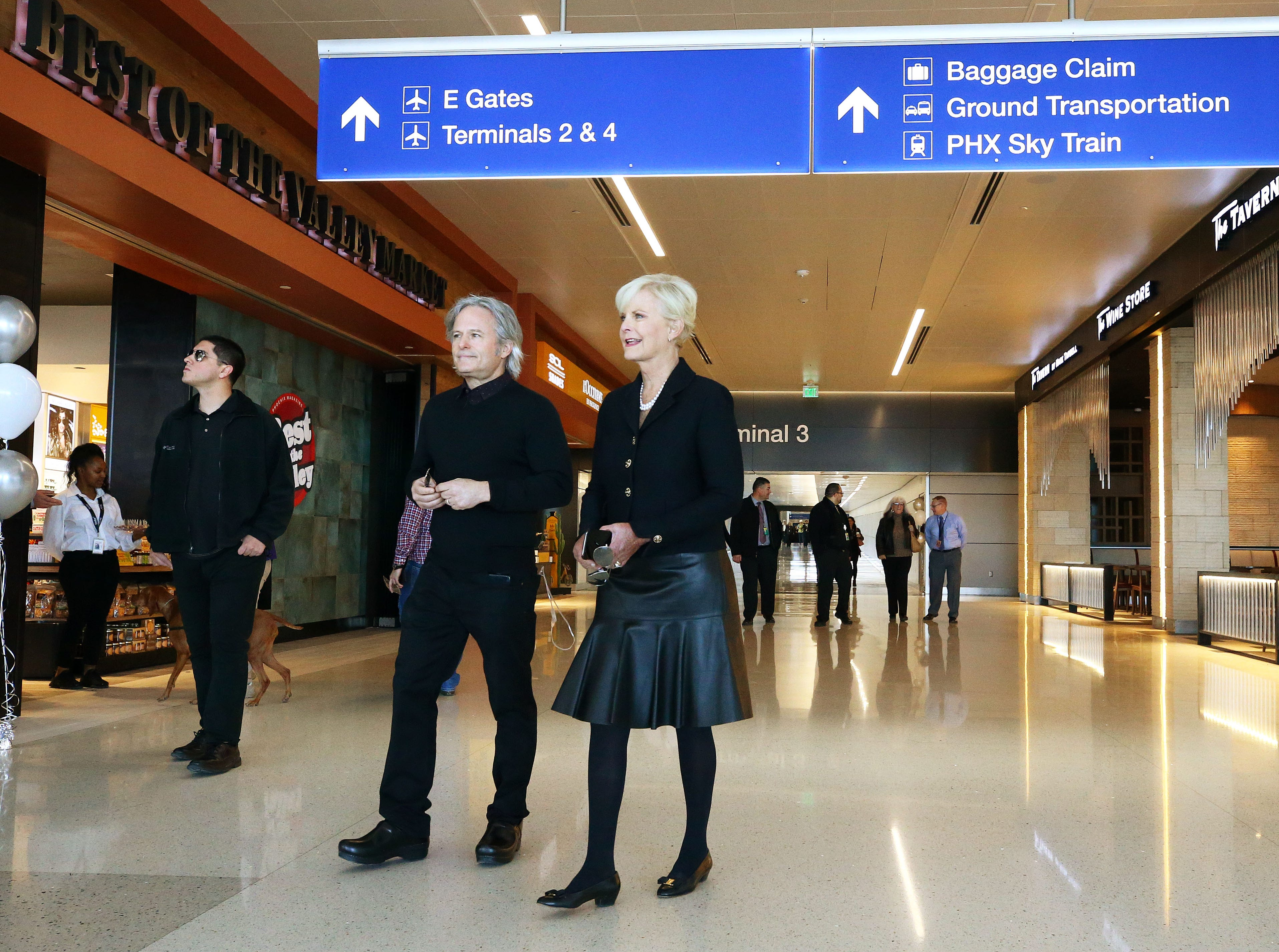 Chef Mark Tarbell and Cindy McCain visit the new John S. McCain III Terminal 3, South Concourse during opening ceremonies on Monday, Jan. 7, 2019 at Phoenix Sky Harbor International Airport.