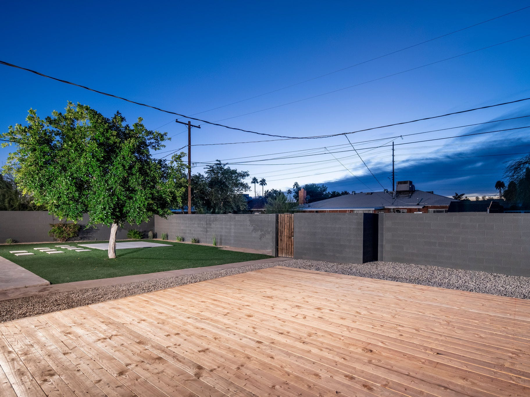 The sundeck adds extra living space to the property.