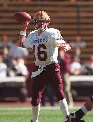 Arizona State quarterback Jake Plummer looks to pass during a game against Stanford in 1996.
