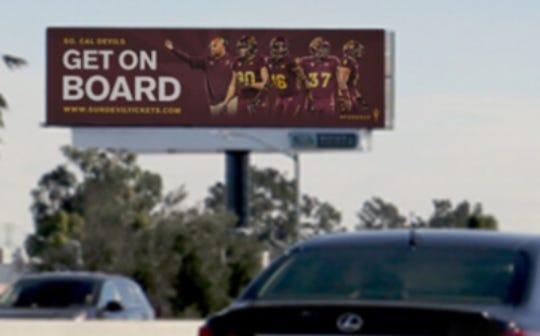 An ASU football billboard in Southern California.