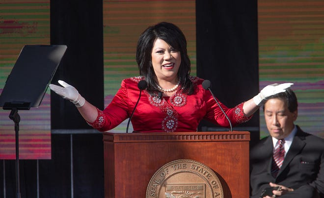 Kimberly Yee speaks to a crowd of several hundred after being sworn in as state treasurer by Arizona Supreme Court Chief Justice Scott Bales at the Arizona Capitol in Phoenix at the 2019 State of Arizona Inauguration ceremony on Jan. 7, 2019. Gov. Doug Ducey, Secretary of State Katie Hobbs, Attorney General Mark Brnovich, Yee, Superintendent of Public Instruction Kathy Hoffman and State Mine Inspector Joe Hart were all sworn in to office during the ceremony.